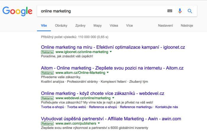 Vzhled reklamy ve vyhledávání Google