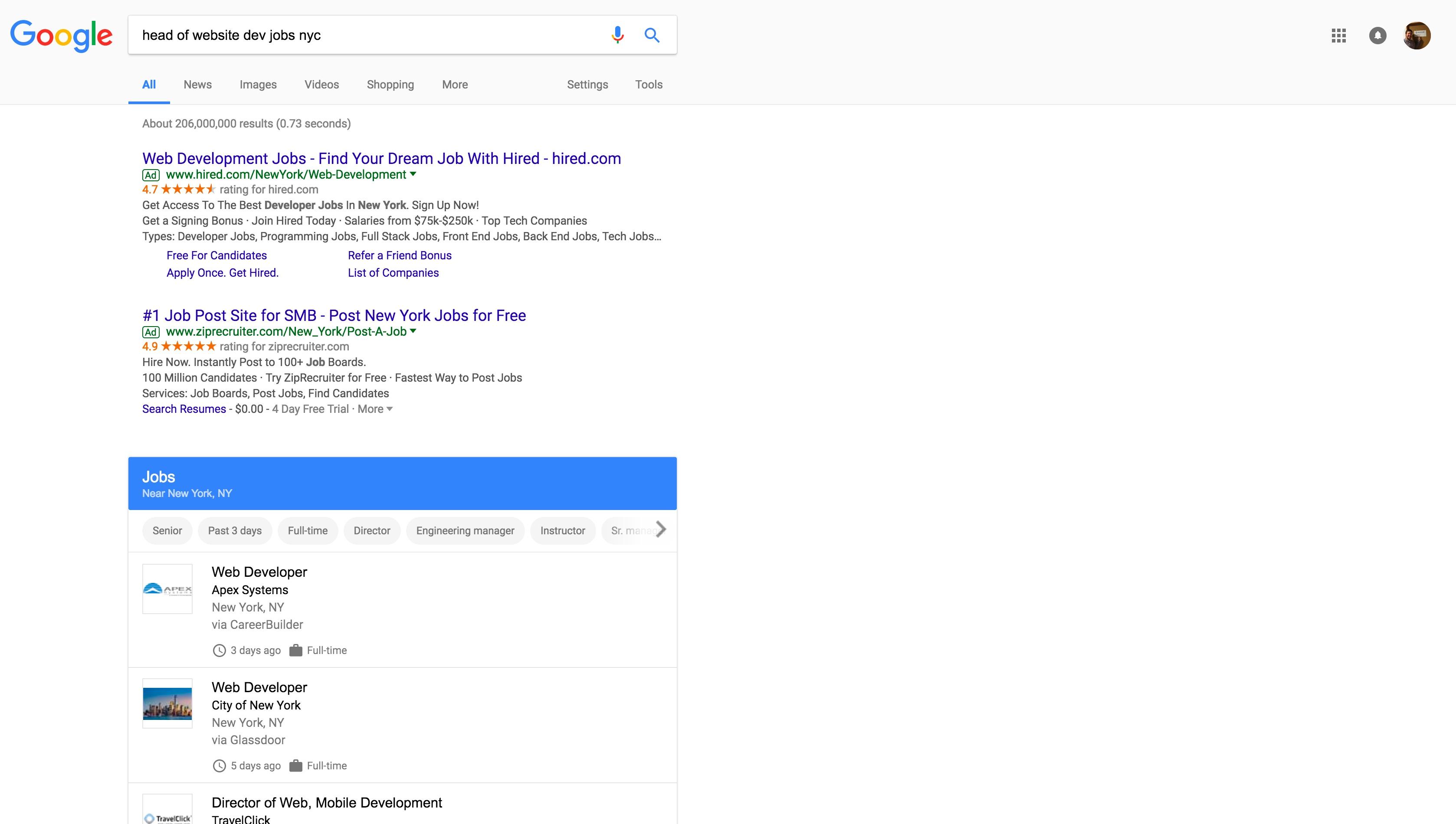 Ukázka pracovní pozice ve vyhledávání Google