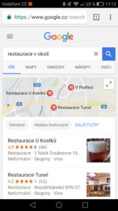 Restaurace - relevantnost na Google