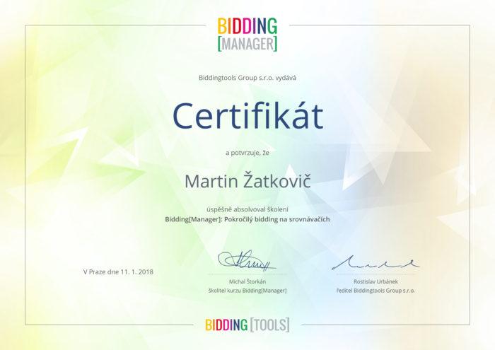 Certifikát pokročilého Biddingu od BiddingManageru