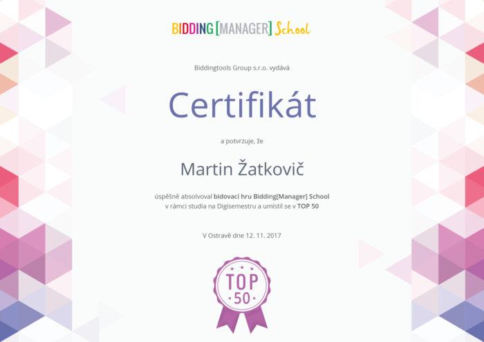 Certifikát BiddingManager School Martin Žatkovič