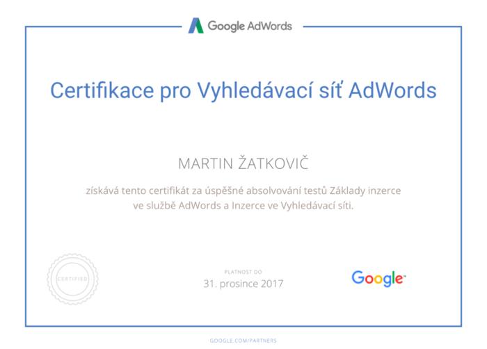 Osobní certifikace Google AdWords