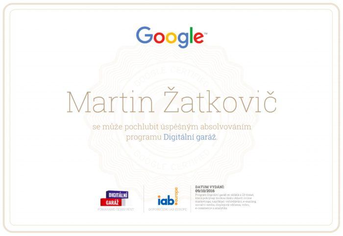Certifikace digitální garáže od Google