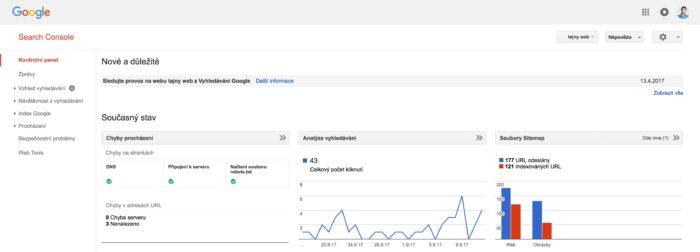 Rozhraní Google Search Console - GSC