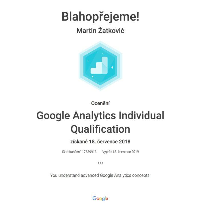 Google Analytics individuální certifikace
